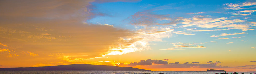 Maui Marrying Muse, Heartfelt & Soulful Ceremonies, Enjoy our Un-Conditional Aloha.  Background sunset with Kahoolawe & Molokini islands