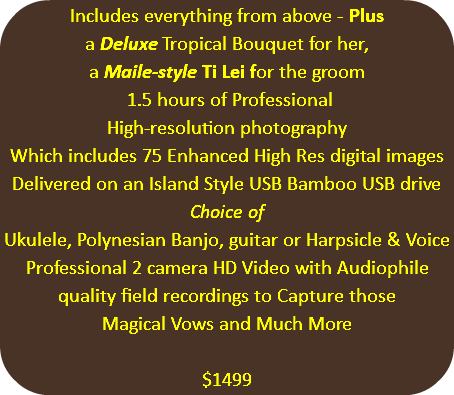 Includes everything from above - Plus a Deluxe Tropical Bouquet for her, a Maile-style Ti Lei for the groom 1.5 hours of Professional High-resolution photography Which includes 75 Enhanced High Res digital images Delivered on an Island Style USB Bamboo USB drive Choice of Ukulele, Polynesian Banjo, guitar or Harpsicle & Voice Professional 2 camera HD Video with Audiophile quality field recordings to Capture those Magical Vows and Much More $1499